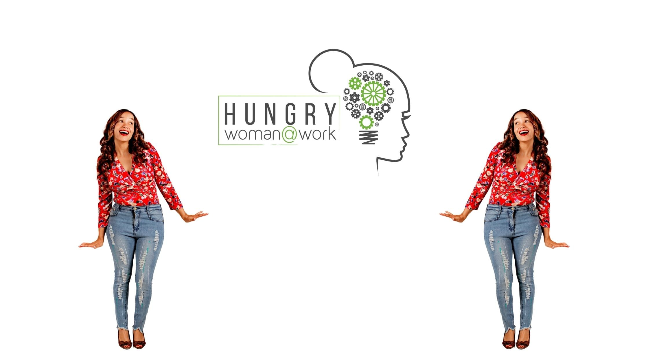 hungry woman at work banner